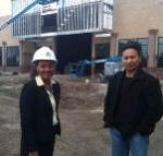 NDC's Michelle Morlan and Con Vong on the job site at the new White Square Center. NDC put the pieces of the financing puzzle together using NMTCs and HUD Section 108. Photo Courtesy of White Center Now.